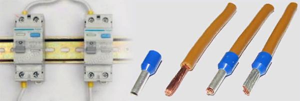 Если при монтаже используется многожильный провод, то не стоит забывать про наконечники