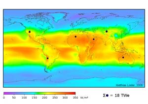 Карта распределения энергии солнечного излучения