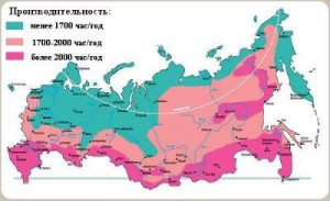 Рисунок 4. Карта России по зонам производительности СБ