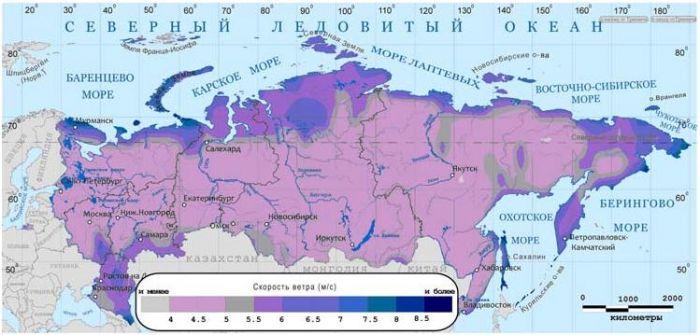 Среднегодовые скорости ветра на высоте 10 м по территории России