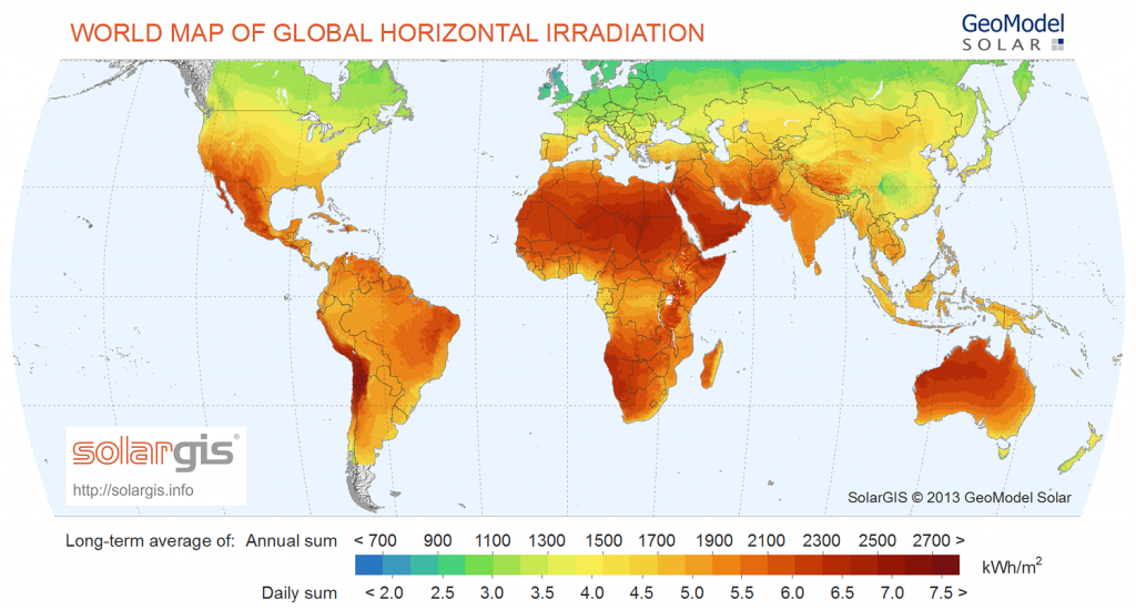 Map of Global horizontal irradiation
