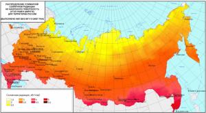 Распределение суммарной солнечной радиации на территории РФ.