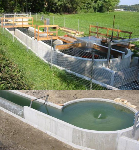 Диаметр бассейна с водоворотом составляет 5,5 метров. Максимальная высота падения воды достигает 1,6 метра. На фото внизу станция ещё не достроена (фотографии с сайта home.tele2.at).