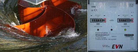 Как видим, турбина примитивна по форме и устройству, однако имеет неплохой КПД. Справа: счётчик показывает почти 52 мегаватт-часа, проданных изобретателем станции энергокомпании EnergieVersorger Niederösterreichs (фотографии с сайта home.tele2.at).