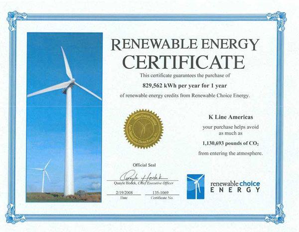 Сертификат на возобновляемую энергию