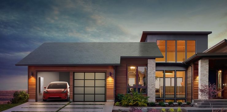 Дом с крышей из солнечных панелей