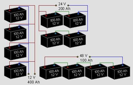Подключение аккумуляторов в единый массив